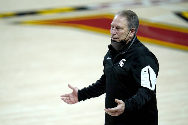 Michigan State head coach Tom Izzo reacts during the first half of an NCAA college basketball game against Maryland, Sunday, Feb. 28, 2021, in College Park, Md. (AP Photo/Julio Cortez)