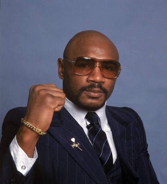 "FILE - In this 1982 file photo, boxer Marvin Hagler poses for a photo. Hagler, the middleweight boxing great whose title reign and career ended with a split-decision loss to ""Sugar"" Ray Leonard in 1987, died Saturday, March 13, 2021. He was 66. (AP Photo, File)"