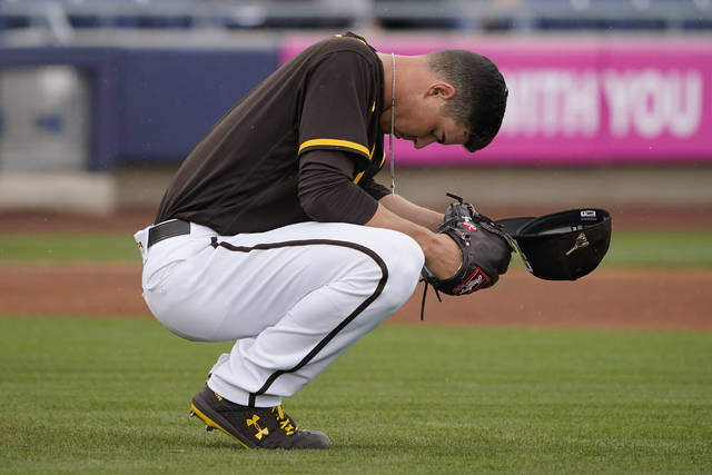 San Diego Padres pitcher MacKenzie Gore pauses behind the mound before pitching in the first inning of a spring training baseball game against the Cincinnati Reds, Tuesday, March 23, 2021, in Peoria, Ariz. (AP Photo/Sue Ogrocki)