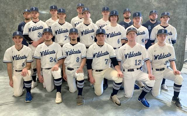 The Blanchester High School baseball team, from left to right, front row, Jacob Lansing, Bryce Sipple, Trenton Czaika, Nate Coyle, Carson Curless, Jake Ficke; middle row, Cole Ficke, Jacob Hamm, Reagan Burch, James Wymer, Adam Frump, Nate Moore; back row, head coach Aaron Lawson, Dylan Estep, Brody Rice, Zach West, coach Andrew Freeman, coach Bradon Pyle