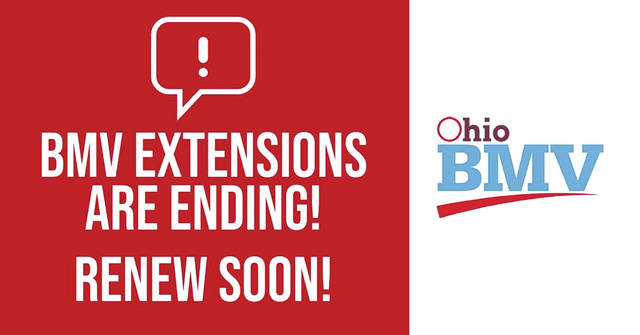 "All Ohio BMV COVID-19 extensions are ending — if the expiration date on your driver's license, ID, or vehicle registration is March 9, 2020 and after, renew soon. Visit a deputy registrar license agency by using the ""Get In Line, Online"" system at ohiobmvappt.cxmflow.com before you go OR renew vehicle registrations online through BMV Online Services at https://services.dps.ohio.gov/BMVOnlineServices/ . Fees for vehicle registrations during the extension March 9, 2020 and after were delayed and will be due at time of renewal."