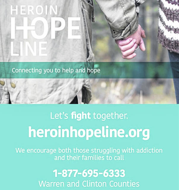 The Heroin HopeLine is available online or toll-free from Warren and Clinton Counties at 1-877-695-6333.