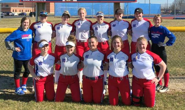 The Clinton-Massie softball team, from left to right, front row, Olivia Ward, Maddie Ward, Cassie Campbell, Sara Hodge, and Luci Payne; back row, Carly Lewis, Kayla Drake, Natalie Lay, Kiera Brightman, Delaney Schneder, Sam Bowman, Kassie Renner, and Marinah Beener.