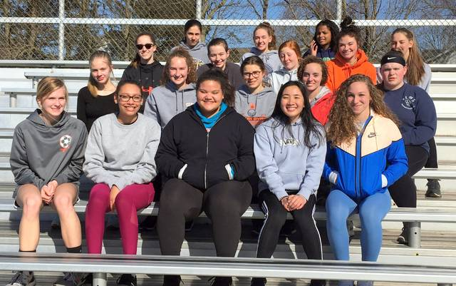 The Wilmington High School girls track and field team, from left to right, front row, Liv Hisco, Sylena Baltazar, Maddy Rickman, Emilee Pham, Mercedes Bowman; second row, Liz Guard, Courtney Parker, Lexi McKee-Cole, Makiya Sherman, Kaitlynn Hickey; third row, Breanna Brunke, Kalli Abbitt, Liz Allen, Aeris McDaniel, Ava Hester; back row, Madilyn Brausch, Hannah Scott, Talaya Billingsley.