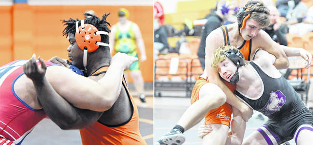 Wilmington's Brett Brooks (left) and Carson Hibbs (right) will compete Saturday in the OHSAA Division II State Wrestling Championship at Marengo Highland High School.