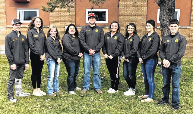 From left are Wilmington FFA members Devon Snyder, Courtney Parker, Abbigayle Battrell, Emma Bryant, Kyle Bryant, Grace Brown, Paige Byrant, Rachel Lowe and Jaden Snyder.