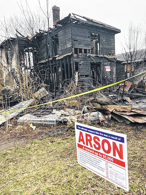 State and local authorities are seeking information on the arson fire of this house.