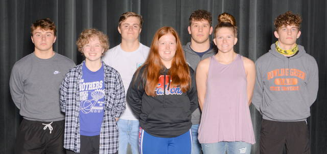 Clinton-Massie All-SBAAC first teamers from winter sports, from left to right, front row, Abby George, Lacie Sandlin, McKenzie Avery; back row, Blake Ireland, Tyler Keck, Colton Doyle, Braden Rolf. Joe Baughman was not present for the photo.