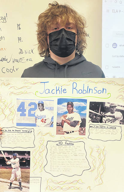 East Clinton High School student Denver Day's project for Black History Month was on Jackie Robinson. Robinson broke through baseball's color barrier in 1947 with the Brooklyn Dodgers when he became the first African American to play baseball in the major leagues, where black athletes previously were shut out from team rosters.