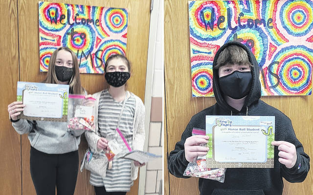 From left are honor roll achievers Emily Ford and Chelsie Hollon, and Ike Gilbert, from Zachary Black's sixth grade Social Studies class.