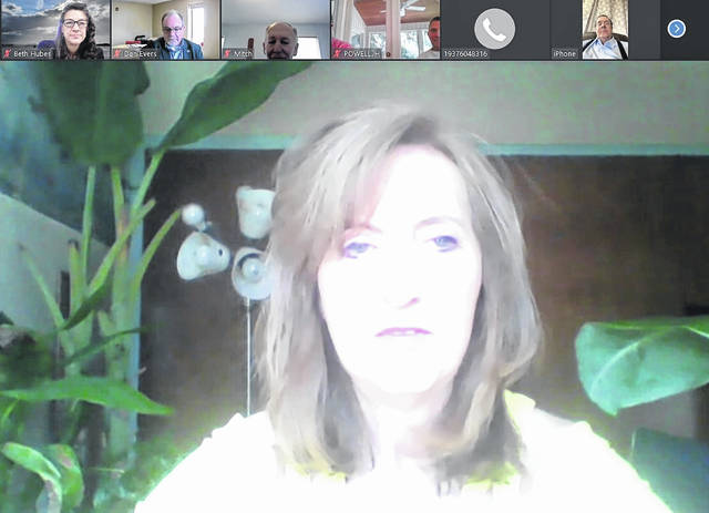 A screenshot of WVXU reporter Ann Thompson, speaking remotely to Wilmington Rotary.