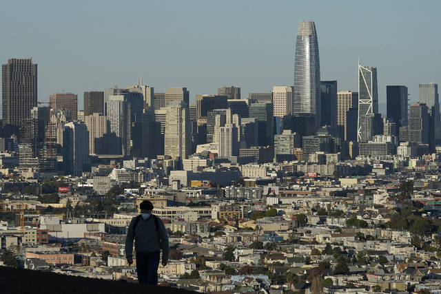 FILE - In this Dec. 7, 2020, file photo, a person wearing a protective mask walks in front of the skyline on Bernal Heights Hill during the coronavirus pandemic in San Francisco. The first numbers from the 2020 census show southern and western states gaining congressional seats. The once-a-decade head count shows where the population grew during the past 10 years and where it shrank. (AP Photo/Jeff Chiu, File)