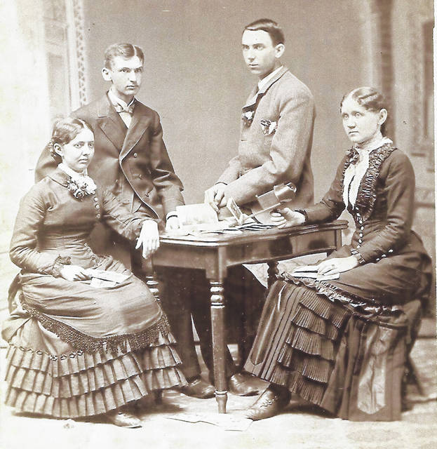 This undated photo includes, from left, Mary Edward, Henry Douglas, Chas Persinger and Ruth Farquhar. Can you tell us more? Share it at info@wnewsj.com. The photo is courtesy of the Clinton County Historical Society. Like this image? Reproduction copies of this photo are available by calling the History Center. For more info, visit www.clintoncountyhistory.org; follow them on Facebook @ClintonCountyHistory; or call 937-382-4684.