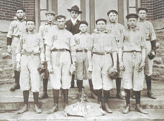This baseball team of Wilmington High School in 1896 consisted of, from left: seated, Tefton Davis, Will Jenkins, Roy Ballard and Clarence Westcott; second row, Hugh Taylor, Clarence Hinman, George (?), and Stan Outcalt; and, third row, Harry South, Orville Hale, Carl Lukens, Ed Shrieves and Lige Stein. Can you tell us more? Share it at info@wnewsj.com. The photo is courtesy of the Clinton County Historical Society. Like this image? Reproduction copies of this photo are available by calling the History Center. For more info, visit www.clintoncountyhistory.org; follow them on Facebook @ClintonCountyHistory; or call 937-382-4684.
