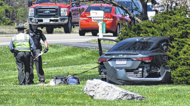 Ohio State Highway Patrol troopers and Clinton County Sheriff's deputies responded to a single-vehicle crash involving a Nissan Sentra with Massachusetts tags on U.S. 68 North near Orchard Road in Union Township early Tuesday afternoon. No injuries were reported. Further information was not available.