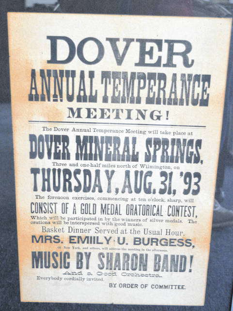 An 1893 poster for the Dover Temperance Meeting.