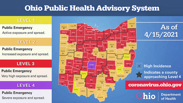 This map shows the levels of the 88 counties in Ohio as of Thursday.