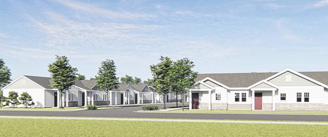 A rendering of some of the 32 senior residential units to be built on Prairie Avenue at the site where the Quaker Apartments building is now.