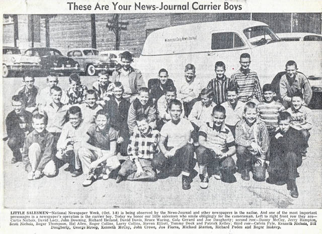 This is a photo of News Journal delivery boys in the 1950s; the clipping is shared by Hal Allen, one of the boys pictured. Can you tell us more? Share it at info@wnewsj.com.