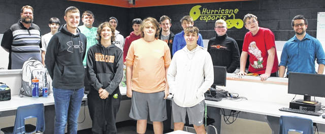 From left in the bottom row are Braydon Conley, Noah Geggie, Kyle Julifs and Ian Dalton; and from left in the top row are WHS eSports coach Steve Reed, Gavin Sheets, Kenton Adkins, Steven Collins, Phillip Fulton, Ian Frary, Dirk Rhinehart, Nathan Jones, Colin Frary and coach Josh Roberts.