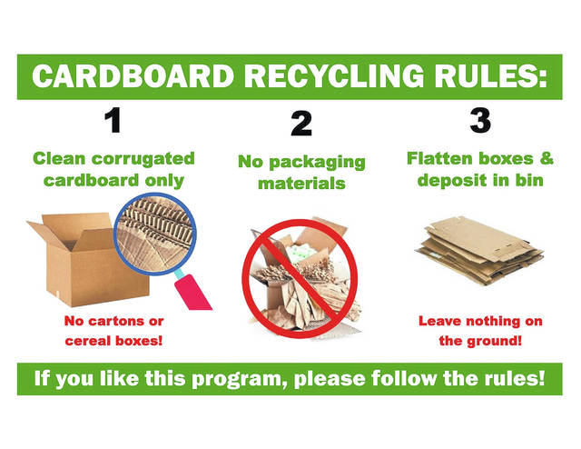 These are the steps to follow if you're dropping off cardboard.