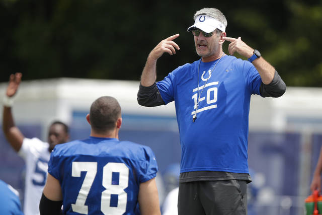 FILE - In this July 26, 2019, file photo, Indianapolis Colts head coach Frank Reich, right, talks with center Ryan Kelly (78) who warms up during practice at the NFL team's football training camp in Westfield, Ind. Reich is always considering new approaches to finish the job. So this offseason, he made a proposal to Kelly.(AP Photo/Michael Conroy, File)