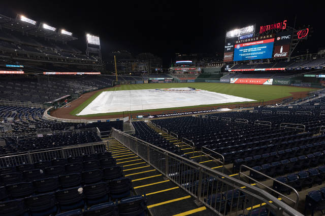 The baseball diamond is covered with tarp and seats are empty as a storm forced a rain delay of the baseball game between the Washington Nationals and the Cincinnati Reds in Washington, Wednesday, May 26, 2021. (AP Photo/Manuel Balce Ceneta)