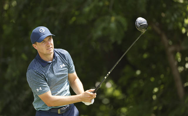 Jordan Spieth plays his shot from the sixth tee during the first round of the Charles Schwab Challenge golf tournament at the Colonial Country Club in Fort Worth, Texas, Thursday, May 27, 2021. (AP Photo/Ron Jenkins)
