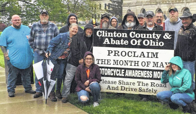 """As the temperatures rise, so does the number of motorcycles on the road. ABATE — American Bikers Aimed Toward Education of Clinton County Region 5 got together at the Clinton County Court House on May 1 in support of the ABATE of Ohio """"Motorcycle Awareness Month"""" proclamation. Remember: """"Look Twice — Save A Life."""""""