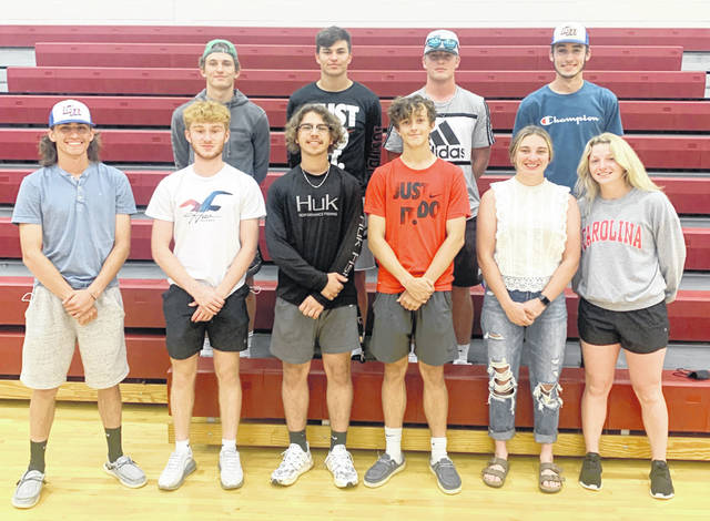 In a photo submitted by the Clinton-Massie athletic department, several Falcon athletes were honored as part of the spring sports post-season honors by the Southern Buckeye Athletic and Academic Conference. In the photo, from left to right, front row, Ethan Johnson (baseball), Marty Kreider (track, field), Gabe McDowell (baseball), Alex Jones (tennis), Delaney Schneder (softball), Natalie Lay (softball); back row, Braden Rolf (track, field), Kody Zantene (baseball), Daelin Maple (track, field), Nate Wildermuth (baseball). Those honored but not present for the photo were Carson Vanhoose (baseball), Kayla Drake (softball), Cayden Clutter (baseball) and Kiera Brightman (softball).