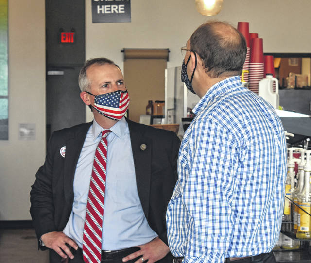 The State of Ohio Treasurer, Republican Robert Sprague, stopped by Kairos Coffee in Wilmington for a meet-and-greet and chatted with locals on Tuesday.