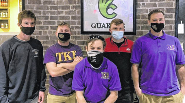 From left are WC Tau Kappa Beta volunteers Ethan Castle, Brandon McCammon, Logan Hayes, Kyle Howard and Mitchell Belland.
