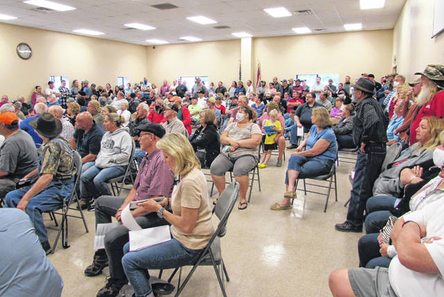 It was standing room only at the Lynchburg fire station for Tuesday's solar farm discussion. Organizers of the event estimated nearly 200 people were in attendance.