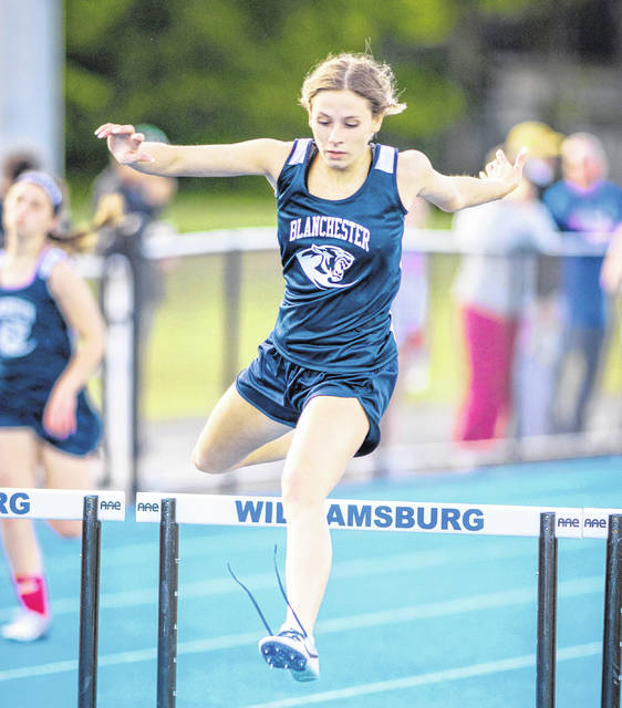 Blanchester's Becca Kratzer won the 100-meter hurdles in the National Division of the SBAAC Track and Field Championship meet at Williamsburg.