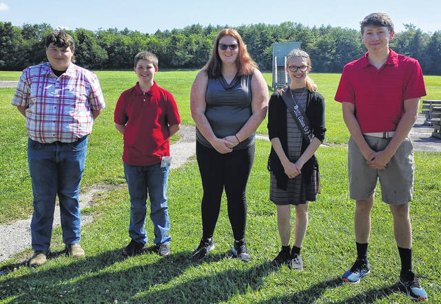 The officers for the Clinton County On-Target 4-H Club are, from left: Bryce Huffman, News Reporter; Stanley Chesney, Treasurer; Zoie McCandless, President; Mikala Hatfield, Vice President; and Dirk Rinehart, Secretary.