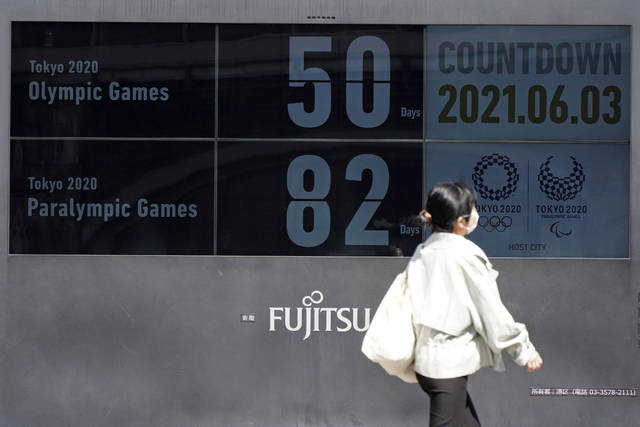 People walk past the countdown clock for the Tokyo 2020 Olympic and Paralympic Games near Shimbashi station in Tokyo, Thursday, June 3, 2021, to mark 50 days before the start of the Summer Games. (AP Photo/Kantaro Komiya)