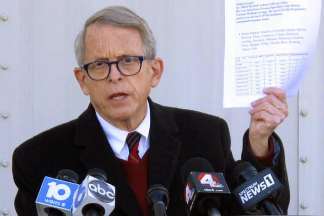"""FILE - In this Nov. 18, 2020 file photo, Republican Ohio Gov. Mike DeWine talks about data on Ohio's coronavirus cases during a news briefing in Columbus, Ohio. DeWine says he is accustomed to facing primary opponents and he feels """"very, very good"""" about his chances of reelection next year despite a growing field of challengers. DeWine's remarks came Thursday, June 10, 2021, after former GOP U.S. Rep. Jim Renacci announced his gubernatorial candidacy. (AP Photo/Andrew Welsh-Huggins, File)"""