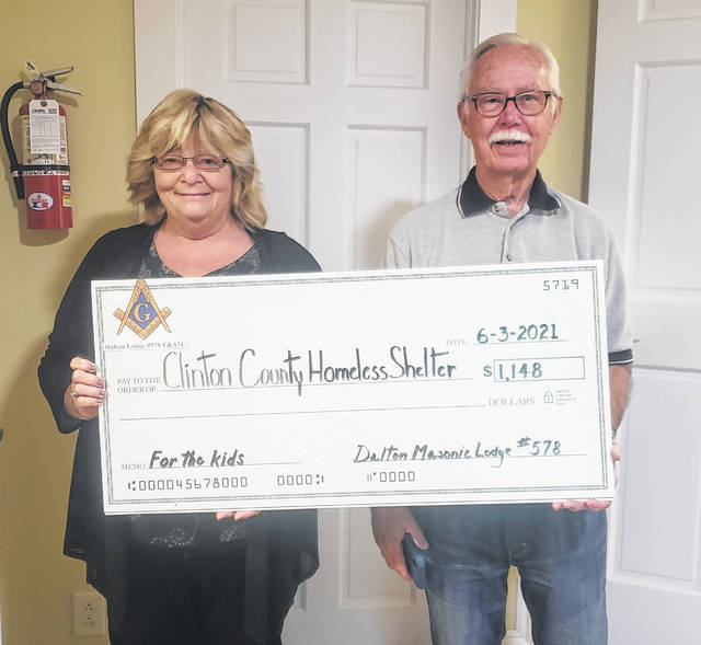 Dalton Lodge #578 F&AM donated $780 in 2020; shown from left are Dan Kennelly, Denise Stryker, Jerry Runk and Dave Ross.