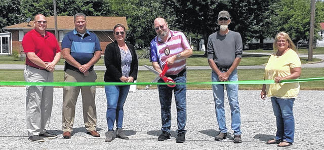 From left are: Jeff Walls, SWMD Coordinator; Mike McCarty, County Commissioner; Erin Hartsock, SWMD Outreach Specialist; Jim Mongold, Mayor of Sabina; Rob Dean, Sabina Administrator; and Brenda Woods, County Commissioner.