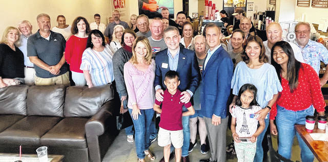 Congressional candidate Mike Carey and former Trump campaign manager Corey Lewandowski hosted a meet and greet at Kairos Coffee in Wilmington on Tuesday. Carey, a native of Sabina, is running for Ohio's 15th Congressional District in the Aug. 3 special primary election.