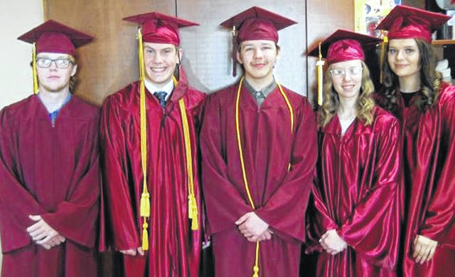 The Wilmington Christian Academy's 2021 graduating class is comprised of, from left, Ty Walker Cockman, Michael Shobe, Charles Massie III, Alisha McLees, and Kelsee Collins.