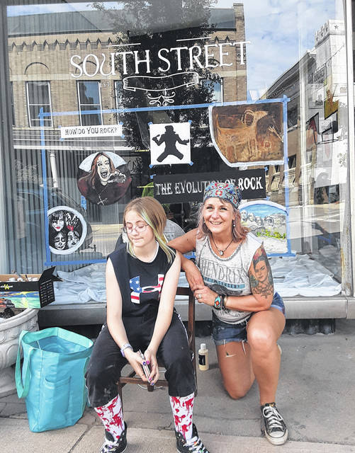Local artist Mary Beth Thorngren, right with recent visiting artist Alexis.
