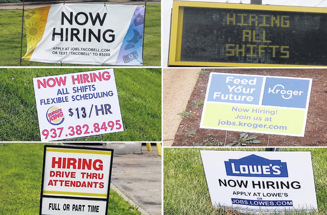 Now-hiring signs are in abundance along and near Rombach Avenue in Wilmington — as in much of the nation — as businesses large and small seek to fill open jobs. Signs shown are for, clockwise from top left: Taco Bell, McDonald's, Kroger, Lowe's, Frisch's, and Burger King.