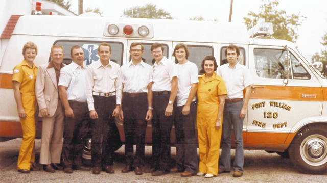 Port William Life Squad members in 1977, from left are Mary Ann Burton, Roger King, Mike Mason, Jim Ewing, Cy Stephens, Dave Sprowle, Scott Sprowle, Jo Runyon, and Larry Williams, Squad Chief. Can you tell us more? Share it at info@wnewsj.com. The photo is courtesy of the Clinton County Historical Society. Like this image? Reproduction copies of this photo are available by calling the History Center. For more info, visit www.clintoncountyhistory.org; follow them on Facebook @ClintonCountyHistory; or call 937-382-4684.