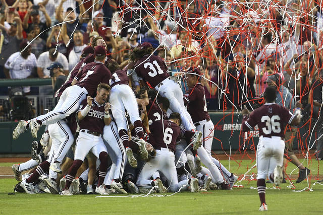 Mississippi State celebrates after winning the College World Series 9-0 against Vanderbilt in the deciding Game 3 Wednesday, June 30, 2021, in Omaha, Neb. (AP Photo/John Peterson)