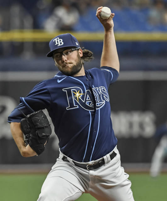 Tampa Bay Rays reliever Josh Fleming pitches against the Cleveland Indians during the third inning in the second baseball game of a doubleheader Wednesday, July 7, 2021, in St. Petersburg, Fla.(AP Photo/Steve Nesius)
