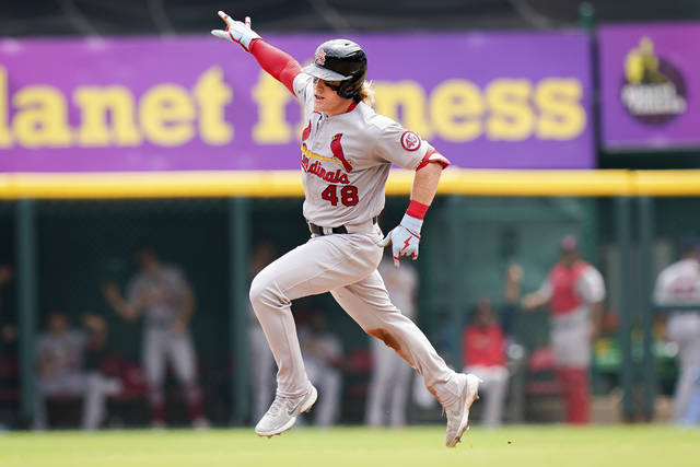 St. Louis Cardinals' Harrison Bader (48) runs the bases after hitting a three-run home run during the fourth inning of a baseball game against the Cincinnati Reds in Cincinnati, Sunday, July 25, 2021. (AP Photo/Bryan Woolston)
