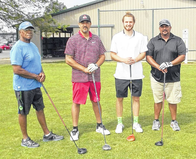 BuckStrong, the second place team in the Harvest of Gold golf tournament Lawrence Curtis, Stephen Harris, Jarett Patton and Jerry Cowin.