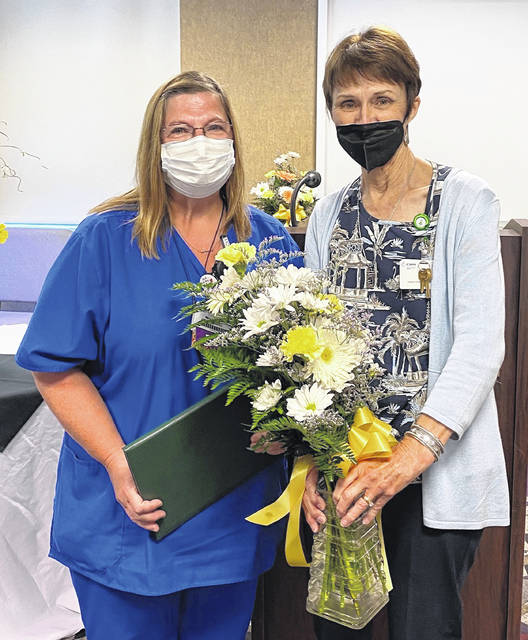 From left are Mary Fraley, RN, and Kay Willis, CNO.