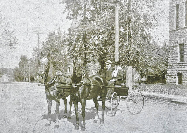 Enjoying a buggy ride on Mulberry Street in Wilmington, in an undated photo. Can you tell us more? Share it at info@wnewsj.com. The photo is courtesy of the Clinton County Historical Society. Like this image? Reproduction copies of this photo are available by calling the History Center. For more info, visit www.clintoncountyhistory.org; follow them on Facebook @ClintonCountyHistory; or call 937-382-4684.
